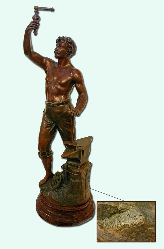 Bronsskulptur CH Ruchot, 80 cm hög.